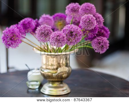 Allium Flowers Bouquet In A Stylish Decorative Vase