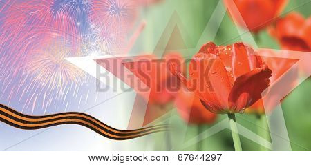 Victory Day Card With Red Tulips