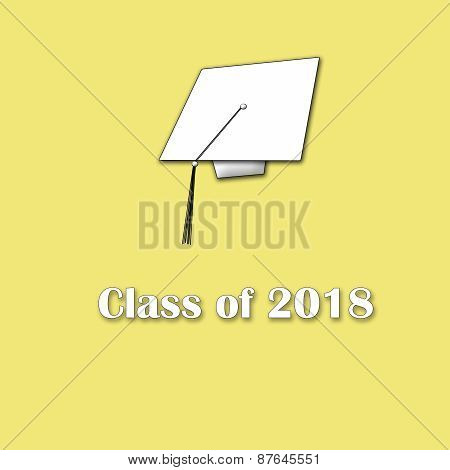 Class of 2018 White on Yellow Lg Single