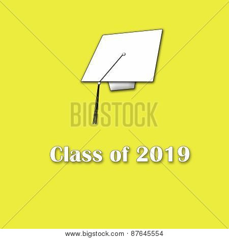 Class of 2019 White on Yellow Lg Singl