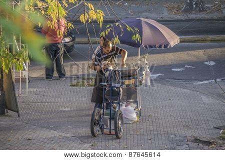Food Street Vendor In Montevideo