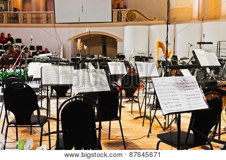 MOSCOW, RUSSIA - NOVEMBER 15: Musical instruments and sheet music at Chaikovsky Hall on November 15, 2011 in Moscow, Russia.