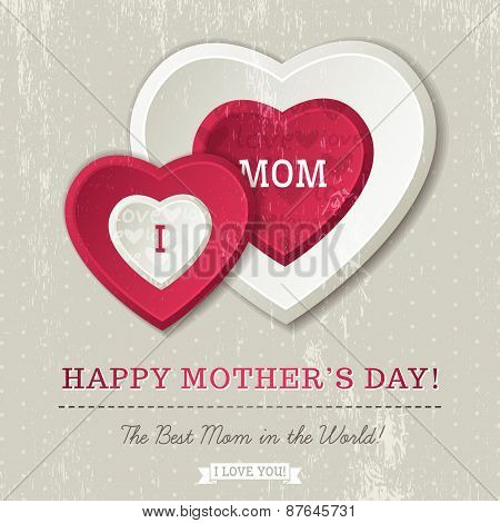 Grey Background With  Two Hearts And Wishes Text For Mother's Day,  Vector