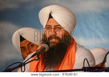 Devotee Sikh With White Turban