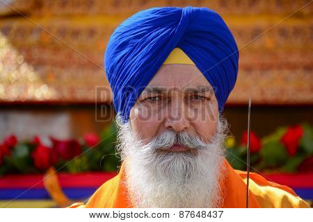 Devotee Sikh With Blue Turban