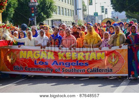 Devotee Sikhs Marching