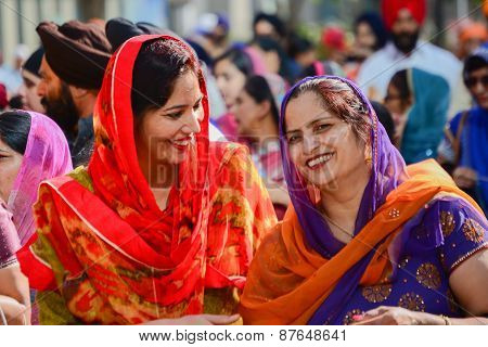 Devotee Sikhs Women Smiling And  Marching