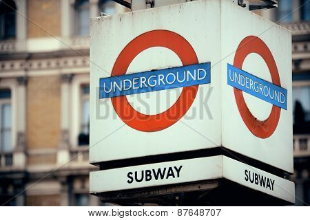 LONDON, UK - SEP 27: Underground sign in street on September 27, 2013 in London, UK. London is the world's most visited city and the capital of UK.