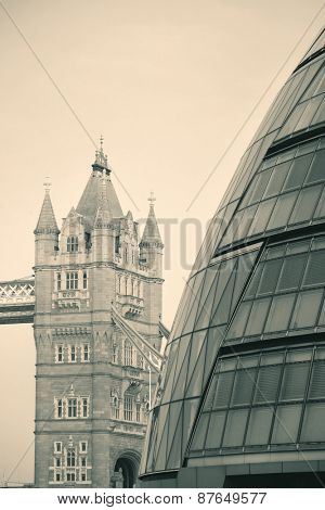 Tower Bridge in London with modern architecture