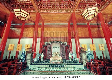 Mu Family Residence building interior in Lijiang, Yunnan, China.