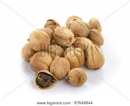 Cardamom Seeds On White Background