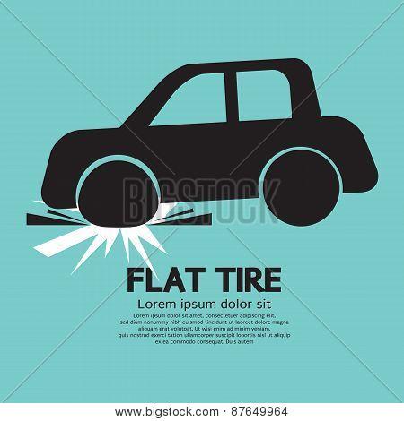 Flat Tire Car Black Symbol.