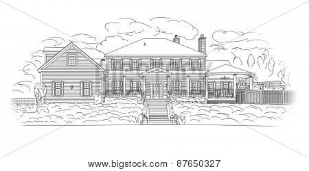 Custom Black House Facade Drawing on a White Background.