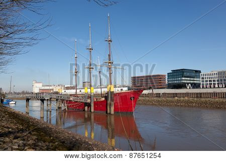 Historic Sailing Ship In Bremen