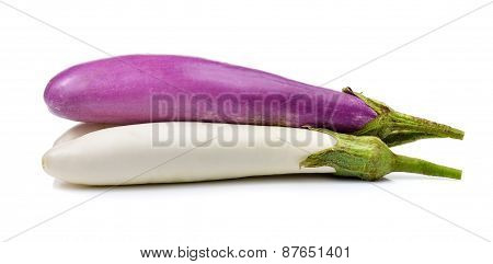 Fresh Eggplant Isolated On Over White Background