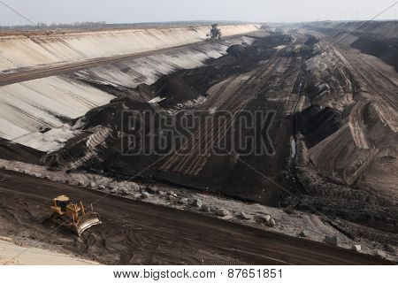 COTTBUS, GERMANY - MARCH 13, 2011: Open-pit coal mining Cottbus Nord near Cottbus, Lower Lusatia, Brandenburg, Germany.