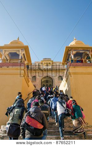 Jaipur, India - December 29, 2014: Tourist Visit Amber Fort Near Jaipur