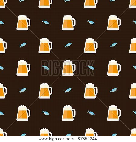 glasses of beer and fish pattern