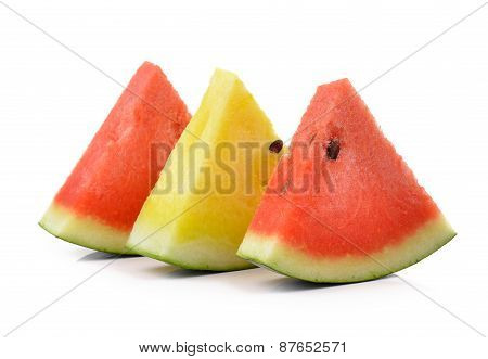 Red Yellow Water Melon On White Background