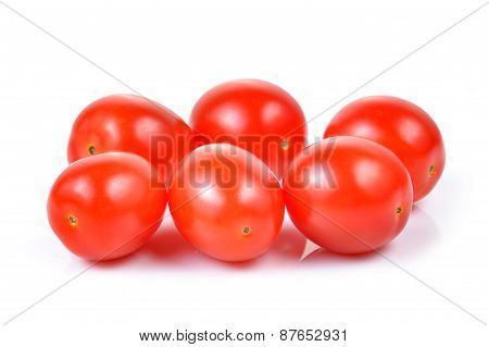 Red Cherry Tomatoes Isolated On White Background.