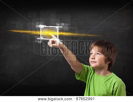 Tech boy touching button with orange light beams concept