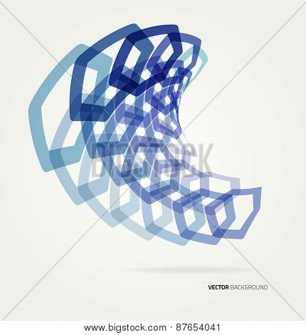Abstract wave Vector hexagons template.