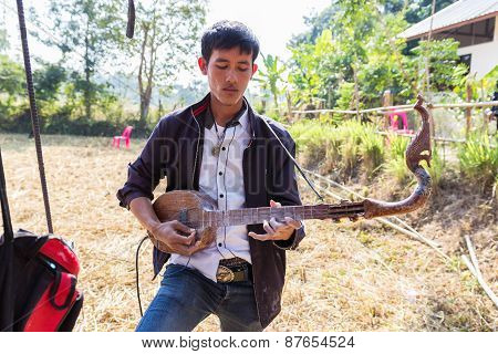 Thailand Traditional Musician Playing Folk Music