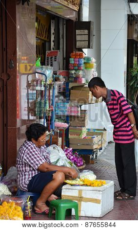 Street Vendors Are Waiting For Customers On The Street In Chinatown, Bangkok