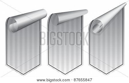 Silver stickers set