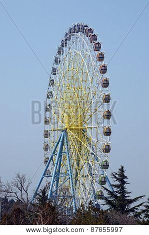 Empty ferris wheel in the entertainment park on Mount Mtatsminda in Tbilisi, Georgia