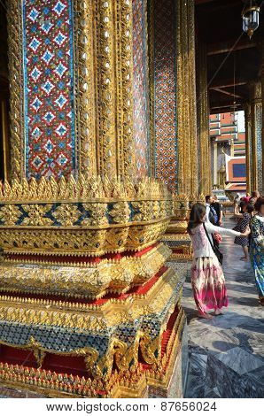 Tourists Vist The Grand Palace In Bangkok, Thailand