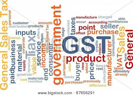 Background text pattern concept wordcloud illustration of GST tax