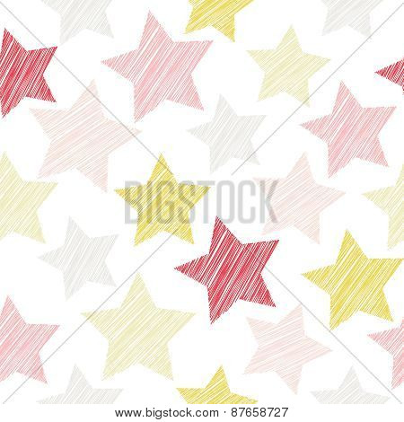 Sketch seamless pattern with stars. Red, pink stars on white background. Vector