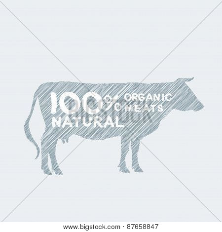 Silhouette of cow, shading, doodle, drawing by hand Farm shop, cow milk Diagram and Design Elements