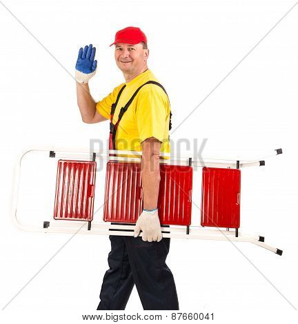 Worker with ladder.