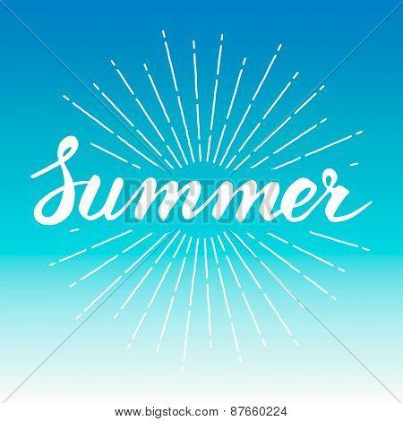 Hand drawn vintage summer design element with sunburst background