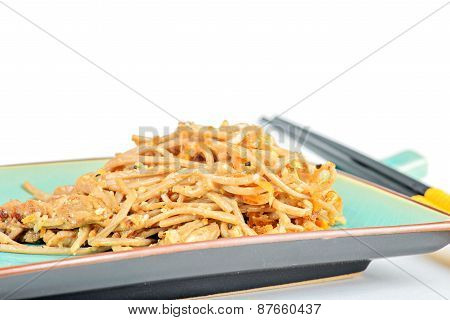 China noodles with vegetables and meat