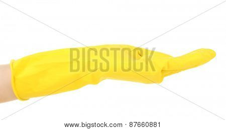 Rubber glove on hand, isolated on white