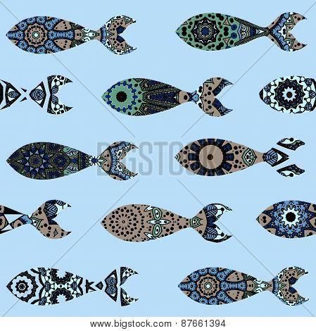 Seamless pattern with mandalas-fish