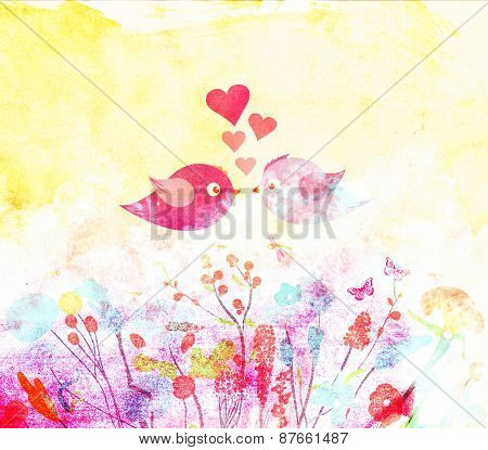 Vintage Seamless Pattern With Abstract Flowers Floral Background