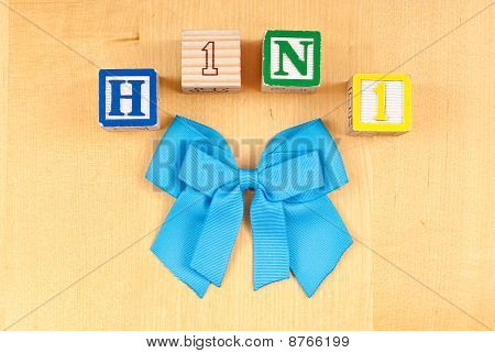 H1N1 With Blue Ribbon