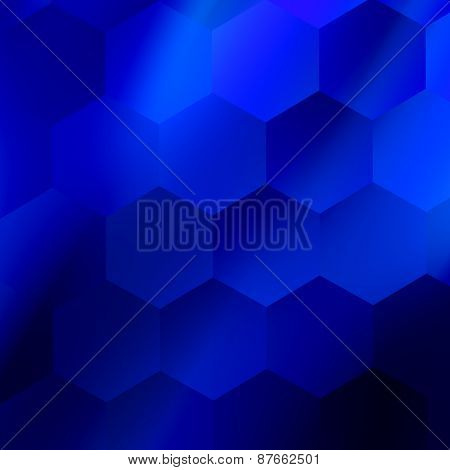 Soft abstract hexagonal background. Blue geometric design. Modern illustration. Modern backdrop.
