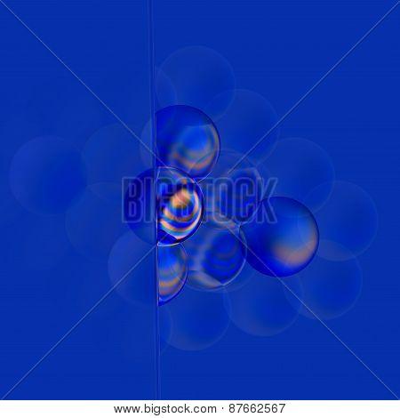 Soft filter concept. Abstract blue 3d bubbles. Turquoise colored translucent soap bubble. Elements.