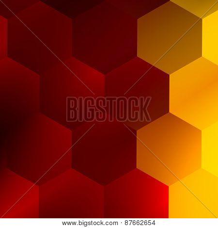 Soft red yellow hexagons. Modern abstract background. Elegant art illustration. Creative texture.