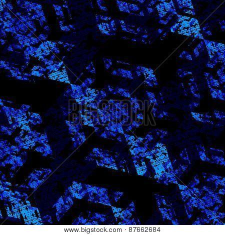 Digital fractal background. Abstract blue pattern. Modern art illustration. Creative black texture.