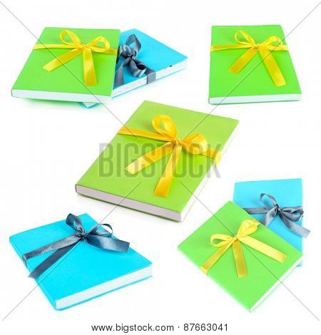 Different images of books wrapped with ribbon isolated on white in collage