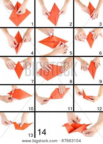 Origami paper bird. Instructions for assembly