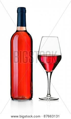 Wineglass and bottle isolated on white