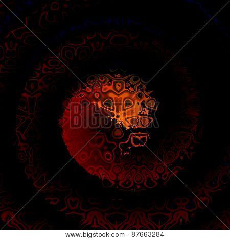 Dark abstract spiral pattern. Digital fractal background. Decorative fantasy illustration. Swirl.