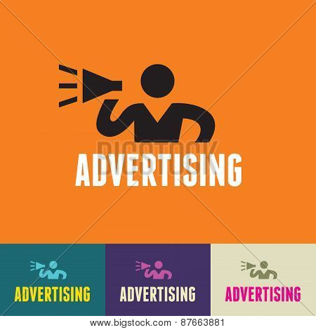 Advertising Sign - Vector Human Symbol - Social Media Icon - Vector Logo Template